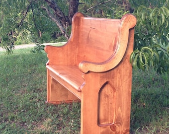 """48"""" Stained Wooden Church Pew, 16"""" overall depth."""