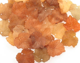 Frosted Lucite Leaf Beads Acrylic Leaf Beads -20 Vintage Harvest Browns - 24x25mm