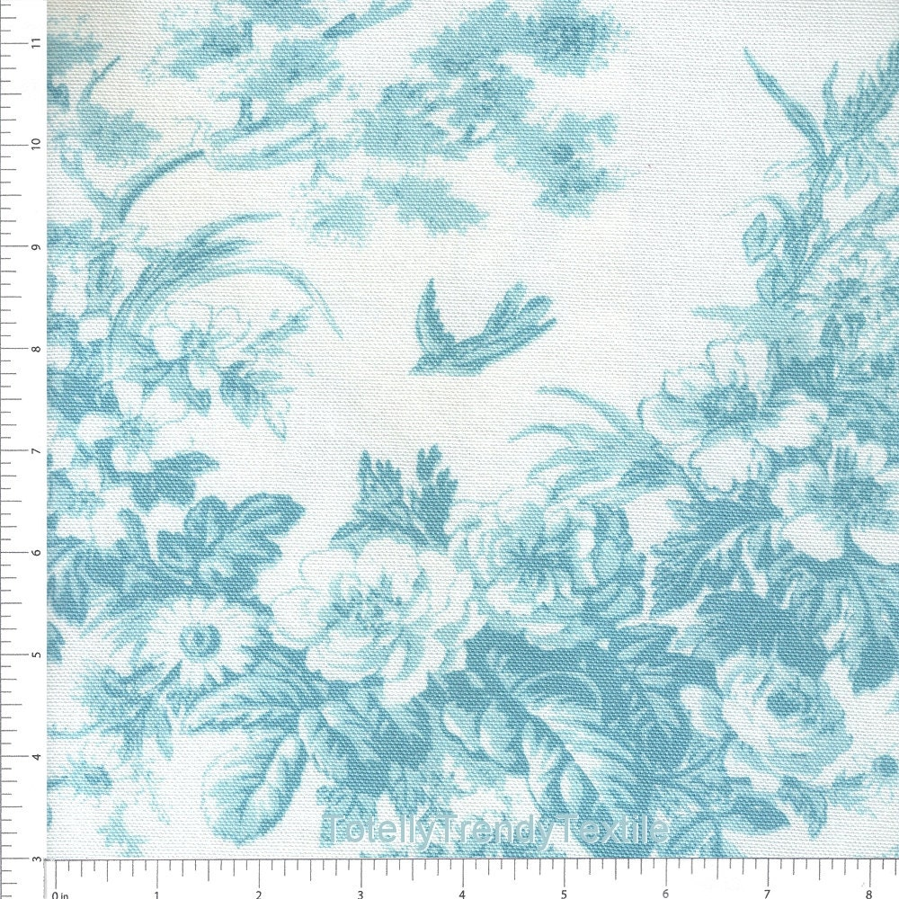 blue toile floral upholstery fabric by the yard blue bird. Black Bedroom Furniture Sets. Home Design Ideas