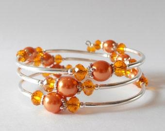 Orange Bridesmaid Bracelet, Memory Wire Bracelet, Gift for Bridesmaids, Unique Wedding Jewelry, Gift for Girlfriend