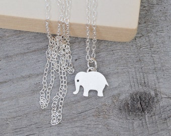 Elephant Necklace, Cute Animal Necklace In Sterling Silver