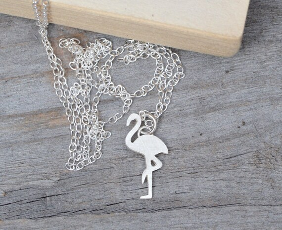 flamingo necklace, animal necklace handmade in sterling silver