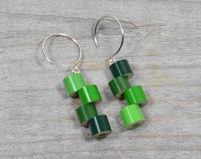 Color Pencil Earrings, Color Theme: Spring, A String Of Green Pencil Jewelry Handmade In The UK