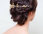 Gold Vine Headpiece   Gold Wedding Hair Accessories   Gold Pearl Bridal Hair Piece [Palais Hair Vine]