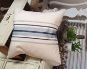 French Grain Sack  Canvas Pillow  with Navy Blue Stripes   Farmhouse/Coastal Cottage/Beach/Lakehouse