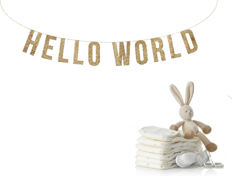 hello world glitter garland baby shower decorations reveal