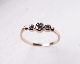 Three Stone Moissanite Engagement ring. Eco-friendly Recycled Solid 14K Gold. BTWN You and Me ring