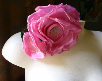 Silk Rose Hot Pink Ombre for Bridal, Sashes, Millinery MF