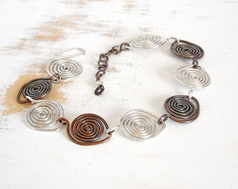 Spiral Bracelet in Sterling Silver and Copper, Metalwork Bracelet, Mixed Metal Jewelry, Hand Forged Bracelet, Artisan Jewellery