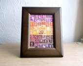 Framed, Upcycled Postage Stamp Art - Abstract landscape pink orange sunset, Eclectic Boho Bohemian Collage, Hippie Travel Gift, Recycled Art