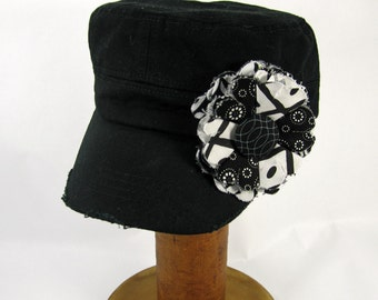 Black Cadet Cap with Fabric Flower Pin, adjustable cadet cap, removable fabric flower pin - black, white - BL18