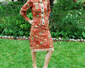Vintage 60's Fitted Tapestry Dress