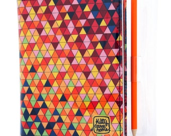 A6 Journal - Colourful geometric triangles fabric