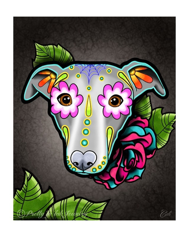 sale regularly greyhound whippet day of the dead. Black Bedroom Furniture Sets. Home Design Ideas