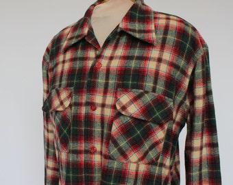 70's  Plaid Wool Shirt /  Mens / Red & Green Plaid / Kings Road / Large