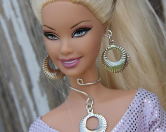 Silver Drop Wrap Necklace and Earring Doll Jewelry Set fits Fashion Dolls 1/6th Scale 11 1/2 - 12inch dolls