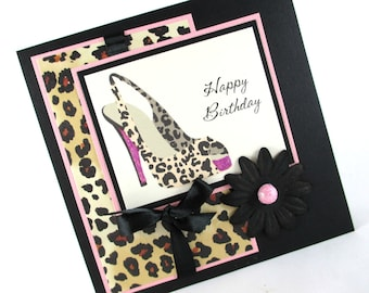Birthday cards, high heels, sexy birthday, leopard cheetah animal print, womens birthday cards
