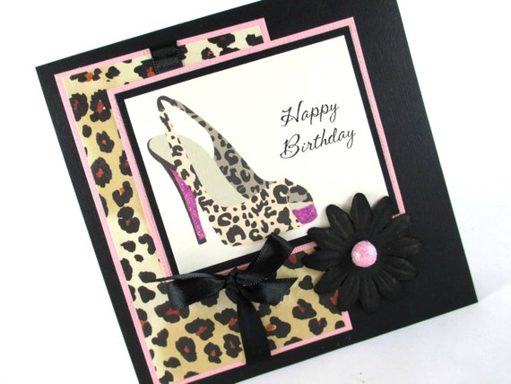 Birthday cards high heels sexy birthday leopard cheetah – Leopard Print Birthday Cards