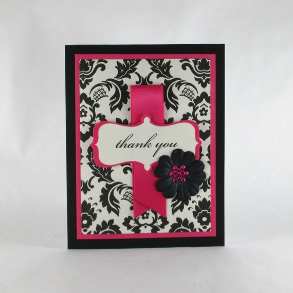 Damask, thank you card, thanks, elegant, notecard, note card, hot pink