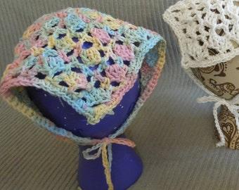 Buttercream Rainbow Kerchief, Tie On Bonnet, USA Grown Cotton, Pastel hat Summer CLEARANCE EVENT