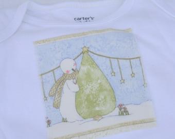 Snowman Baby Bodysuit- Christmas Baby Onesie- Christmas Onesie