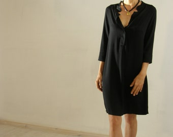 women's blouse in black, oversized  shirt, black dress tunic, Summer tops,   black mini dress kurta galabeya curta