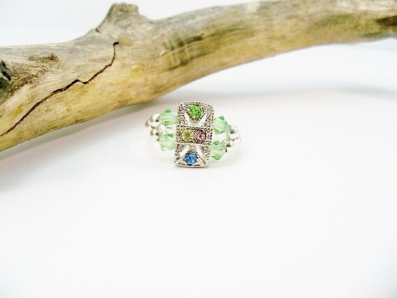 Crystal Stretch Ring Peridot Ring Elastic Band Ring
