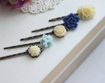 Blue Ivory Flower Hair Pin, Ivory Floral Wedding Hair Pin, Navy Blue Flower, Aqua Blue, Navy and Ivory, Something Blue, Set of Five (5) Pins