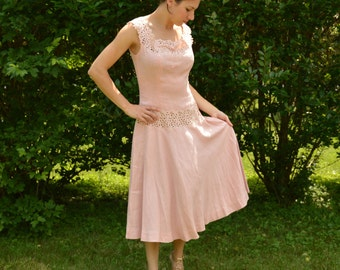 60s Linen n Lace Dress Summer Pink 26 Inch Waist