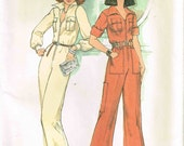 Sexy Front Zippered Jumpsuit Mod Pointed Collar Vintage 1970s Misses Simplicity 7310 Sewing Pattern Size 10