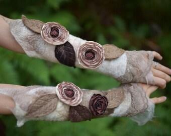 Nuno Felted Pixie Woodland Nymph Fairy Flower And Leaf Arm Warmer Cuffs OOAK