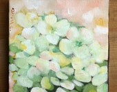 white flowers begonia impressionistic mini oil painting still life 4x4 inch