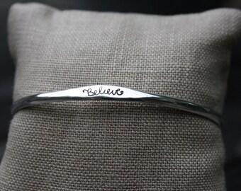 Believe Sterling Silver Bangle Hand Stamped Adjustable Motivational