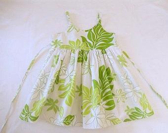 girls dress Hawaiian print, girls summer dress, white green, size 3-4, 100% cotton