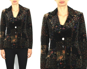 Vintage 70's happy legs patchwork velveteen jacket Size S