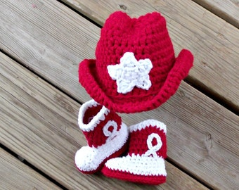 Baby Cowboy Hat and Boots, Hat and Booties Set, Red Cowboy Boots, Red Cowboy Hat, Crochet Baby Cowboy Boots, Crochet Baby Cowboy Booties