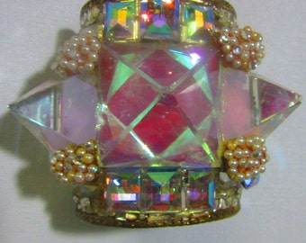 Wendy Gell Wristy Cuff  Three Pyramids Magical Gateway 1980's Art to Wear