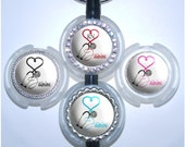 Stethoscope Id - Personalized Medical Heart Nurse Name Tag in 6 Colors, Rhinestone Cardiology Id (A053)