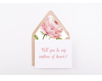 Will You Be My Matron Of Honor, Digital Folded Card With Envelope Liner, Wedding Stationery, Instant Download