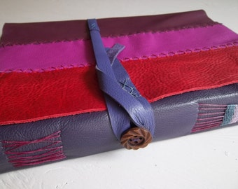 on sale: XL Purple Leather Sketchbook with Hand-stitched Leathers, Premium Artists Papers