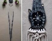 Hand of the Philosopher Ceramic Macramé Wall Hanging Dip Dyed Indigo