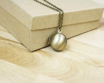 Ball Locket Necklace | Antiqued Brass