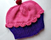 Cupcake Hat with Cherry on Top Grape purple Cake Raspberry Watermelon Frosting Children Baby Toddler handmade hand knit