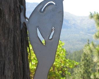 PILEATED WOODPECKER Lifesize Metal Cutout Post Garden Art 14 inch