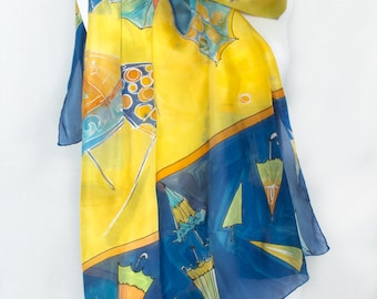 Silk Scarf- Twirling Umbrellas. Hand Painted silk Scarf shawl. Bright Yellow Summer scarf. Luxury scarves. Oblong wrap shawl lightweight.