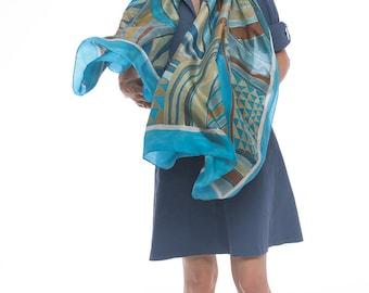 Striped silk scarf hand painted. Designer Scarves/ Luxury shawl. Geometric Blue brown silk shawl/ Unique scarf handmade/ Birthday gift her
