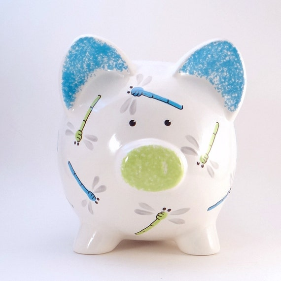 Blue & Green Dragonfly Piggy Bank - Personalized Piggy Bank - Bug Bank - Blue Green Insect Piggy Bank - with hole or NO hole in bottom