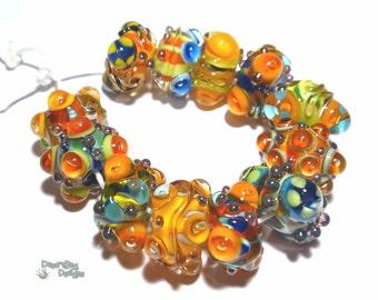 FIESTA Handmade Lampwork Beads  - Blue Turquoise Orange Red Yellow Silver Vibrant   -  Set of 12