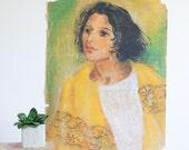 Vintage Pastel Portrait of a Lady / 1930's Outsider Art / Naive Portrait Painting