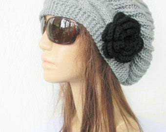 Slouchy Hat Hand Knit Hat Womens hat  chunky knit  gift for her  Slouchy Beanie  Slouch  Hat Flower  Winter Accessories Autumn Fashion